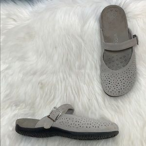 Vionic Lidia Grey Suede Perforated Mules Size 9